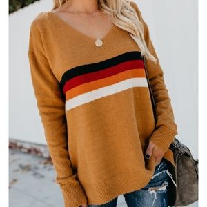 New mustard striped sweater